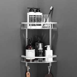 Shower Organiser Storage, 2 Tier Shower Caddy Bathroom Shelf Organizer with Adhesive Sticker for Bathroom accessories & Kitchen, No Drilling Bathroom Organizer Storage Shelves