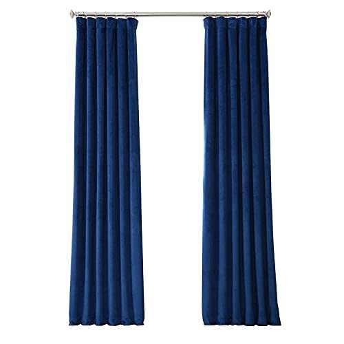 HPD Half Price Drapes VPYC Heritage Plush Velvet Curtain (1 Panel), 50 X 84, Pisces Blue