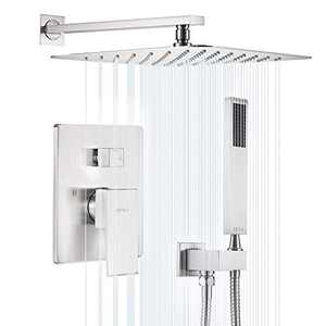 ESNBIA Brushed Nickel Shower System 12 Inches, Rain shower head with handheld Set, Wall Mounted Rainfall Shower Head System, Shower Combo Set with Shower Valve for Bathroom