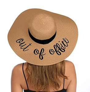 Lanzom Womens Wide Brim Straw Hat Big Floppy Foldable Roll up Cap Beach Sun Hat UPF 50+ (Style H-Out of Office Khaki)