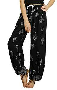 EXCHIC Women's Yoga Harem Pants Boho Pants Floral Printed Hippie Pants (M, 4)
