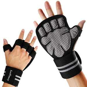 LotFancy Workout Gloves for Women Men, 1 Pair Ventilated Weight Lifting Gloves with Wrist Support Wraps, Anti-Slip Gym Gloves for Pull Ups, Deadlifting, Cross Fit, Size L