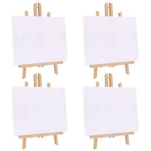 Jekkis 4 Packs Tabletop Easel with Canvas Sets, 16 x 9.5 Inches Wooden Easels and 12 x 9.5 Inches Canvas, Art Craft Painting Easel Stand for Kids Artist Adults Students Classroom