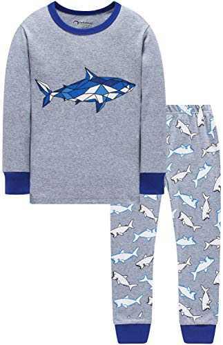 Boys Christmas Sharks Pajamas Baby Clothes Kid PJs Pants Clothing Set Sleepwear 8t