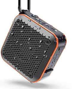 LEZII IPX7 Waterproof Shower Bluetooth Speaker, Portable Wireless Outdoor Speaker, Support TF Card Aux-in FM Radio, Hook for Home Pool Beach Bicycle Boating Bag Hiking, 12H Playtime (Orange)
