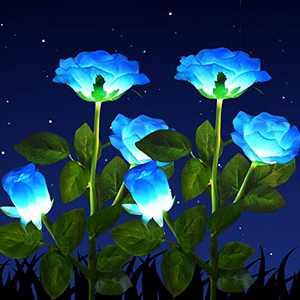 Solar Powered Garden Decorations Lights, LED Rose Flower Garden Decorative Stake Lights for Garden, Courtyard, Backyard Decoration, Waterproof (Blue)