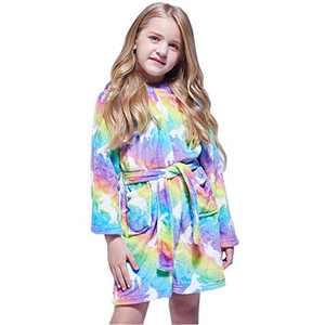 Soft Girls Bathrobe, Hooded Flannel Robe Toddler Dressing Gown Sleepwear 4T -18 Years Green