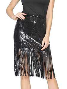 Radtengle Women's Sequin Skirt Sparkly Midi Skirts Pencil for Work Party Shimmer Cocktail Clubwear with Sequin Tassel Black