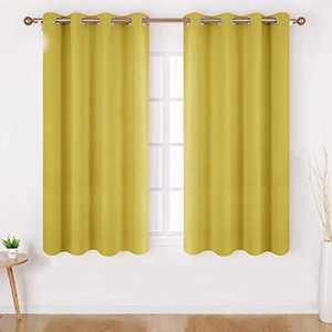 HOMEIDEAS Blackout Curtains for Bedroom 52 X 63 Inch Length 2 Panels Set Yellow Room Darkening Curtains/Drapes, Soundproof Thermal Grommet Window Curtains for Living Room