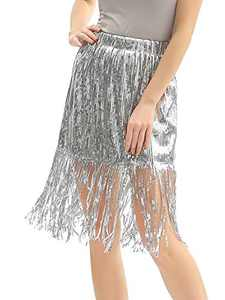 Radtengle Women's Sequin Skirt Sparkly Midi Skirts Pencil for Work Party Shimmer Cocktail Clubwear with Sequin Tassel Silver