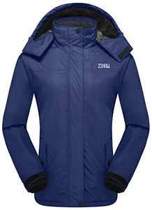 ZSHOW Women's Outdoor Waterproof Snow Coat Windproof Fleece Ski Jacket(Navy Blue,Large)