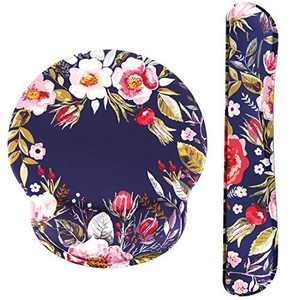 HAOCOO Ergonomic Mouse Pad Wrist Support and Keyboard Wrist Rest Set with Non-Slip Backing Memory Form-Filled, Easy-Typing and Pain Relief for Gaming Office Computer Laptop (Vintage Flowers)