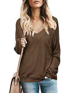 Ofenbuy Womens Long Sleeve Waffle Knit Shirts Criss Cross Backless V Neck Oversized Lightweight Pullover Sweaters Tops Khaki