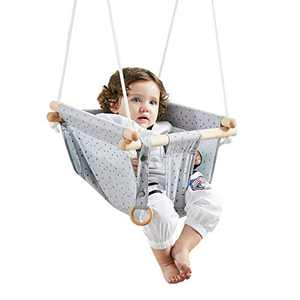 Secure Canvas Baby Swing with Safety Belt, Wooden Hanging Swing Seat Chair - Indoor Outdoor, Baby Hammock Swing for Infant and Toddler (Grey)