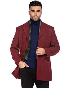 COOFANDY Men's Winter Coat Single Breasted Wool Pea Coats Fleece Warm Long Jacket (Wine Red S)