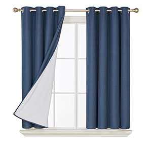 Deconovo Faux Linen Blackout Curtains with 3 Pass Energy Efficient Thermal Insulated Coating Room Darkening Curtains Drapes for Dining Room 52 x 54 Inch 2 Curtain Panels Navy Blue