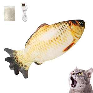 Growom Electric Moving Fish Cat Toy, Funny Interactive Pets Pillow Chew Bite Kick Supplies Catnip Kicker Toys Motion Kitten Toy for Cat/Kitty Christmas & Halloween gifts