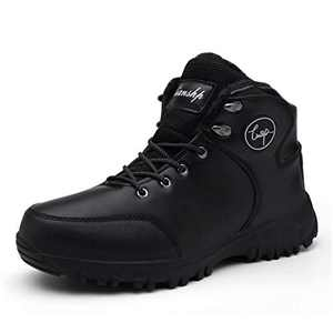 Lianshp Men's Warm Winter Snow Boots Water Resistant Warm Fur,Outdoor Anti-Slip Shoes,Shoe Lace Hook,Black 42