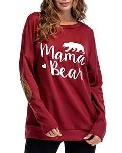 Gognia Women's Mama Bear Long Sleeve T Shirt Casual Loose Patches Tunics Top Blouse Red S