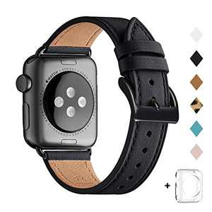 Bestig Band Compatible for Apple Watch 38mm 40mm 42mm 44mm, Genuine Leather Replacement Strap for iWatch Series 6 SE 5 4 3 2 1, Sports & Edition (Black Band+Black Adapter, 42mm 44mm)