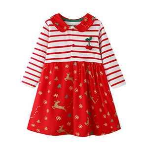 Toddler Girl Animal Stripe Cotton Dress Baby Girls Casual Dresses 2-8 Years