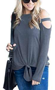 Women's Long Sleeve Cutout Shoulder Tops Tie Front Knot Casual Loose Tunic Blouses Shirts Grey Blue