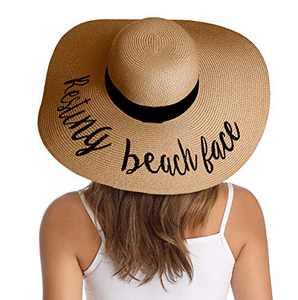Lanzom Womens Wide Brim Straw Hat Big Floppy Foldable Roll up Cap Beach Sun Hat UPF 50+ (Style I-Resting Beach Khaki)