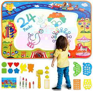 MOZOOSON Toddler Gifts Water Drawing Doddle Mat for Kids Extra Large Aqua Magic Doddle Mat Christmas Ideas Children Mat for Girl Boys