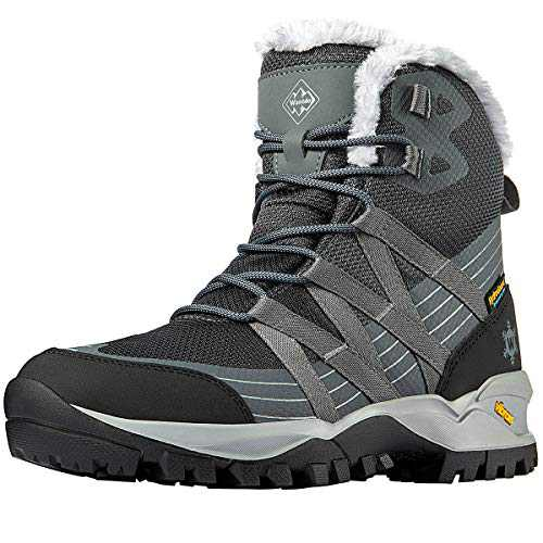 Wantdo Women's Waterproof Hiking Boots Lightweight Ankle Snow Boots for Winter Snow Hiking 10 M US Grey