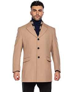 COOFANDY Men Woolen Dress Coats Winter Wool Jacket & Coat with Removable Plaid Wool Scarf (Khaki M)