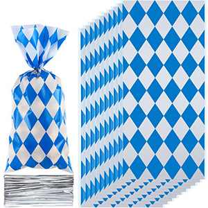 100 Pieces Oktoberfest Party Supplies Bavarian Decorations German Beer Festival Party Favor Cellophane Treat Bags Cookie Candy Checkered Packaging Bag With Twist Ties