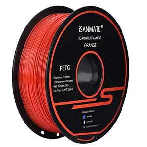 iSANMATE PETG Orange Filament 1.75 mm, PETG 3D Printer Filament Neat Coil, Dimensional Accuracy +/-0.03mm,1kg (2.2lb) Spool,for 3D Printer (Orange-red)
