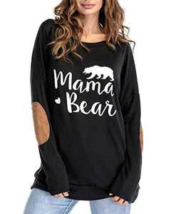 Gognia Women's Mama Bear Long Sleeve T Shirt Casual Loose Patches Tunics Top Blouse Black S