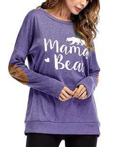 Gognia Women's Mama Bear Long Sleeve T Shirt Casual Loose Patches Tunics Top Blouse Blue S