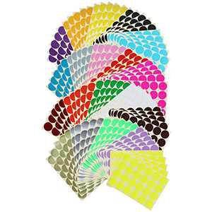 2400 Count Round Dot Stickers Color Coding Labels, 1.26 inch Diameter, 20 Colors, 100 Sheets