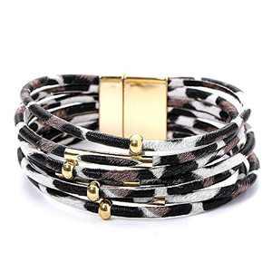 Leopard Bracelets for Women Metal Pipe Charm Multilayer Wide Leather Wrap Bracelet (White)