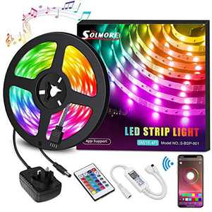 LED Strips Lights 5M, SOLMORE 16 Million Colors Rope Lights Sync with Music 5m/16.4ft SMD5050 RGB Light Strip Kit with Remote & Smart APP Control for Home Decoration Halloween Christmas Wedding Party