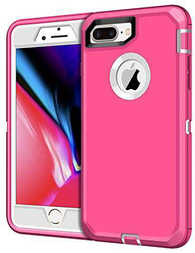 XNMOA Case for iPhone 7 Plus Case iPhone 8 Plus Case Heavy Duty Shockproof Protective Scratch Resistant Shell Dual Layer Hard PC Bumper and TPU Back Cover for iPhone 7 Plus iPhone 8 Plus Pink