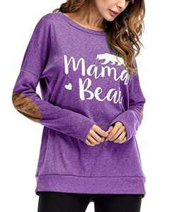 Gognia Women's Mama Bear Long Sleeve T Shirt Casual Loose Patches Tunics Top Blouse Purple S