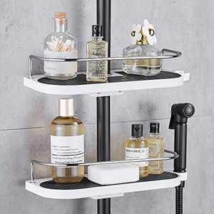 Hoomtaook Shower Caddy no Drilling Hanging Shower Shelves Shower Accessories Holders with Buckle and Shower Head Hook for Suit [22mm-25mm]Rail Plastic, Two Pack