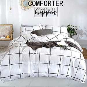 karever White Comforter Set Big Grid Bedding Set Queen White with Black Plaid Printed Pattern Down Checkered Comforters Bedding Set for Kids Teens Adult (3pcs, Queen Size)