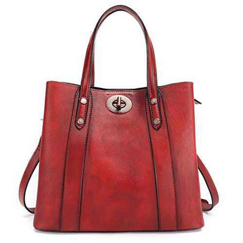 Fei Studio Shoulder Vintage Genuine Leather Handbag for Women Handmade Colored Crossbody Big Capacity Tote Bag (Red)