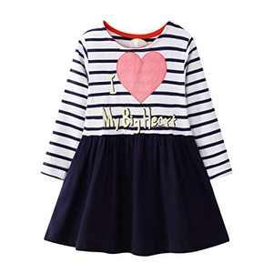 WRHPZW Toddler Girls Casual Dress Cotton Long Sleeve Warm Christmas Basic Party Shirt Tunic Dress