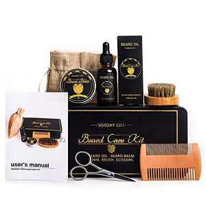 Beard Care Kit For Men, Beard Grooming Growth Trimming kit For Men Gift Includes Beard Balm, Beard Oil, Beard Brush, Wooden Beard Comb, Beard Scissors - Metal Gift Box