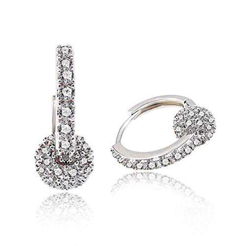 Hoop Huggies Earrings 14K Gold Plated Cubic Zirconia U Shape Hollow Ball Dangle Drop Earrings for Women Girls