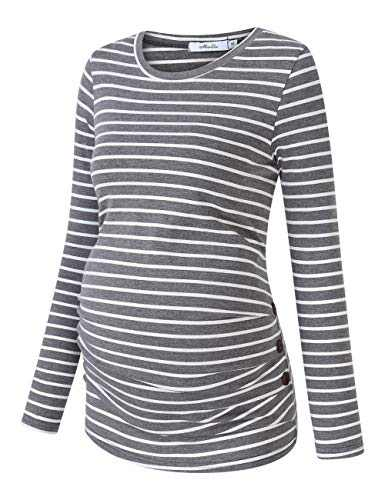 Coolmee Maternity Shirt Side Button and Ruched Maternity Tunic Tops Maternity Long Sleeve T-Shirt T-Shirts (M,Gray/White-Long)