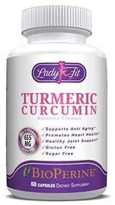 Lady Fit - Turmeric Curcumin Natural Non GMO with Bioperine Joint Pain Relief. Anti-Inflammatory, Antioxidant Supplement