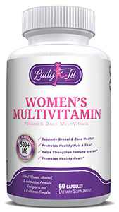 Lady Fit - Women's Daily Multivitamin Supplement. Vitamins and Minerals. Chromium, Magnesium, Biotin, Zinc, Calcium, Green Tea. Antioxidant Properties for Women