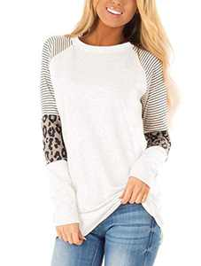 MODNTOGA Women's Cotton Knitted Leopard Color Block Long Sleeve Lightweight Stripe Round Neck Sweatshirt Tunic Tops White