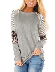 MODNTOGA Women's Cotton Knitted Leopard Color Block Long Sleeve Lightweight Stripe Round Neck Sweatshirt Tunic Tops Grey